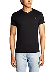 U.S. Polo Assn. Men's V Neck Cotton T-Shirt (I031-002-P1-L Black)