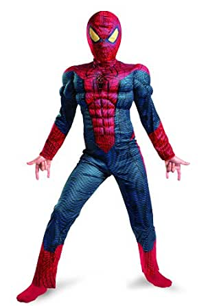 Spider-Man Movie Muscle Light Up Boys Costume sz Medium 7-8