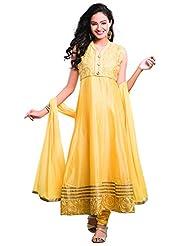 Roja Silks Women's Cotton Salwar Suit Set (RS-10-1327, Yellow, Free Size)