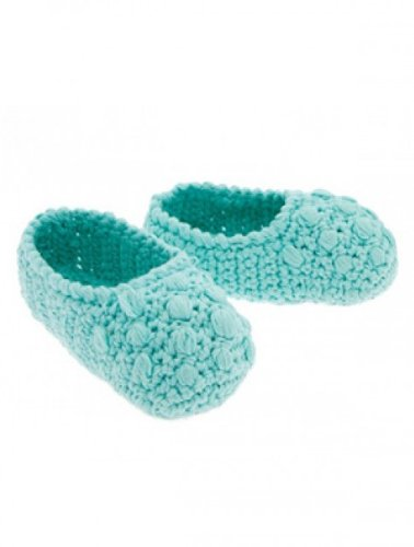 Hand Crocheted Knitoes Baby Bobble Slippers For Newborns Through Toddlers (6-12 Month, Aqua) image