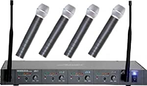Audio 2000 Professional 4 Channel Wireless Microphone System With 3 Handheld Microphone & 1 Lavaliere (AWM6044UL)