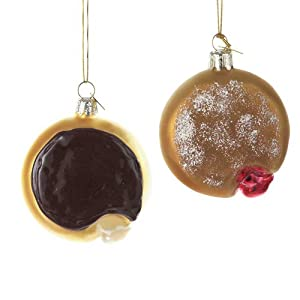 Noble Gems Glass Donut Ornament Set Of 2 Assorted Boston Creme & Jelly