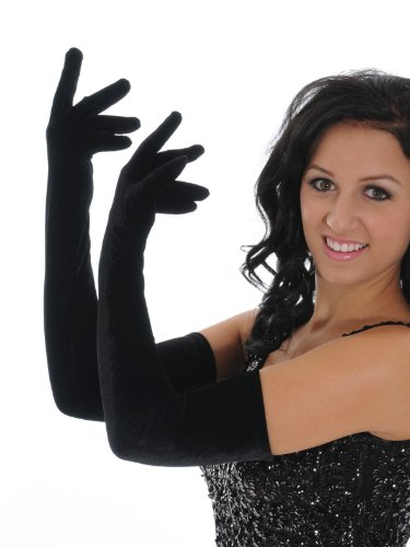 "Xlong Black Velvet Opera Gloves 23"" Length Sexy Formal Lingerie Accessory Sizes: One Size"