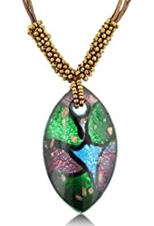 Multicolored Murano Glass Marquis Pendant on 19 Inch Beaded Cord Necklace