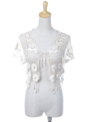 Anna-Kaci S/M Fit Off-White Floral Tribal Inspired Crochet Tassel Cardigan Shrug