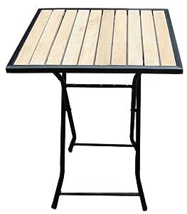 Table de jardin bistrot pliante carr e 60x60cm m tal bois beige - Table de jardin carree aluminium ...