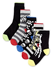 5 Pairs of Cotton Rich Skeleton Socks