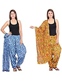 Rama Set Of 2 Abstract Print Blue & Yellow Colour Cotton Full Patiala With Dupatta Set