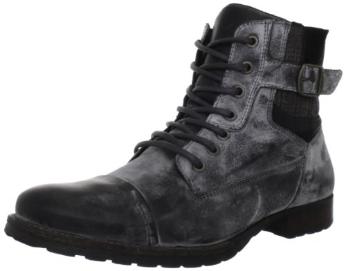 Steve Madden Men's Boxcar Lace-Up Boot,Black Leather,9 M US