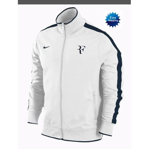 Amazon.com: Nike Roger Federer RF Tennis Jacket White Black Track Warm