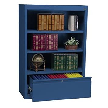 """52"""" H Three Shelf Bookcase with File Drawer Color: Blue"""