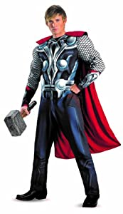 Disguise Marvel's Avengers Movie Thor Avengers Classic Muscle Adult Costume, Red/White/Silver,X-Large/(42-46)