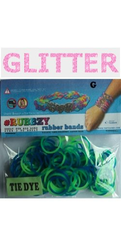 Rubbzy 100 pc Special Edition Tie Dye/Glitter Rubber Bands w/ 4 Connectors (#302) - 1