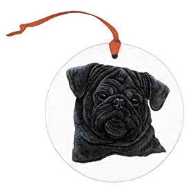 Black Pug Christmas Ornament
