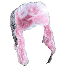 41vi5c4iU2L. SL500 AA280  WOMANS NEW WINTER SKI PLAID PINK FUR TROOPER TRAPPER HUNTER HAT