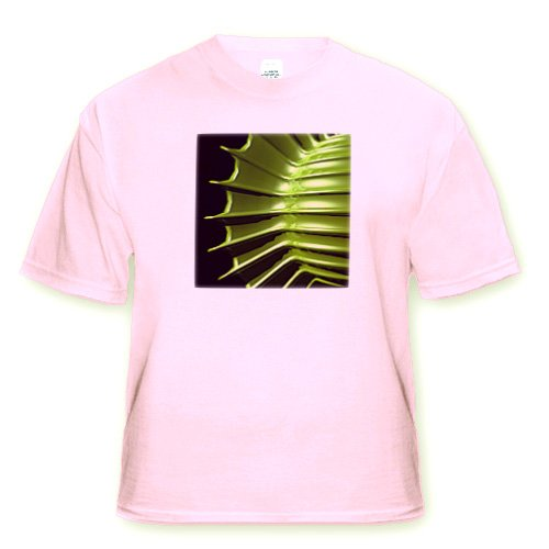 Green Tips shows a macro view up close of an organic specimen with sharp tips - Adult Light-Pink-T-Shirt Small