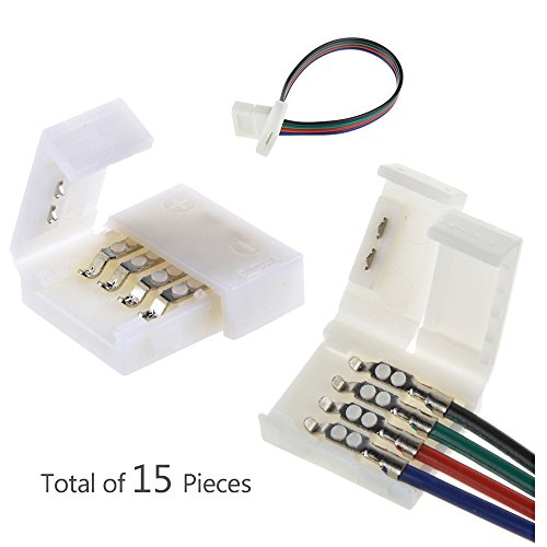 Alightings led 5050 connector 4pin Kits for 10mm Wide PCB Non-Waterproof RGB strip-Contains Gapless ,with one side wire connectors,Strip-to-Strip Cable Connectors (Ceiling Fan Puller compare prices)