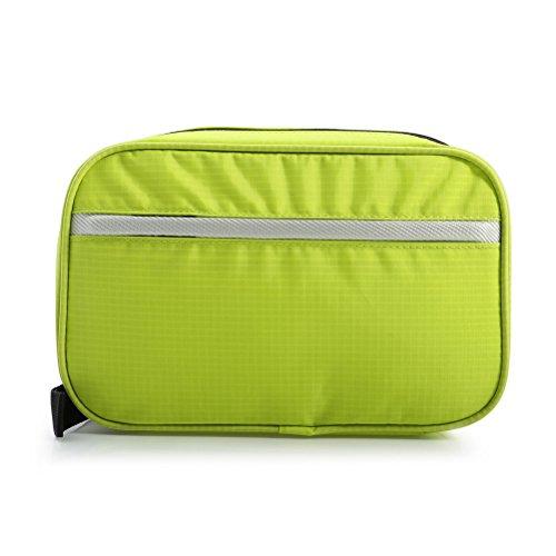 Pixnor Outdoor Borsa da viaggio di nylon trucco lavaggio Pouch con gancio (Verde)