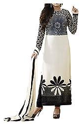 Angel Fashion Studio Women's Georgette Dress Material (White)