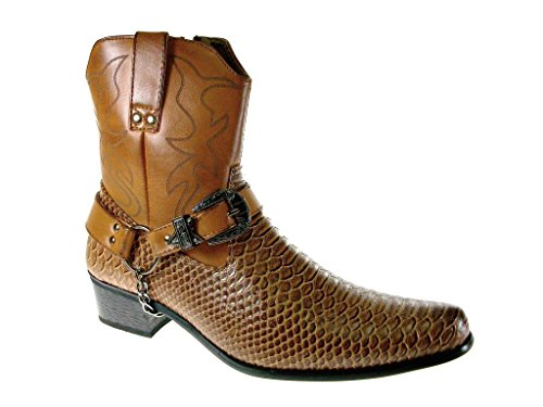 Alfa Men`s M1734 Faux Snake Skin Western Cowboy Boots w/ Belted Chain, Brown, 8