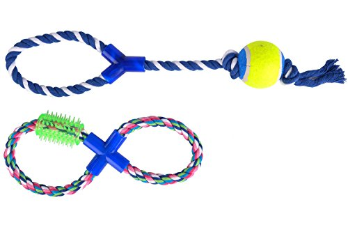 2 pack/set Dog Rope Toy Tug Puppy Pet Chew Durable Toys for Small Dogs Interactive with handle