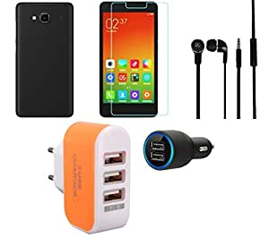 NIROSHA Tempered Glass Screen Guard Cover Case Car Charger Headphone Charger for Xiaomi Redmi 2s - Combo