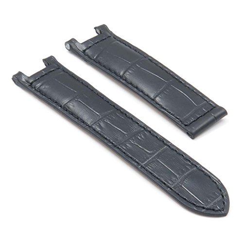 Dassari London Black Croc Leather Strap For Cartier Pasha Watch In Size 20/18 20Mm