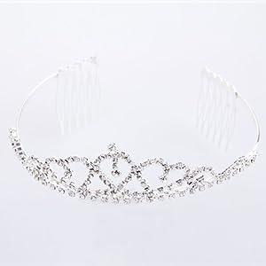 Kristall Strass Haarreifen Diadem Tiara Krone für Braut