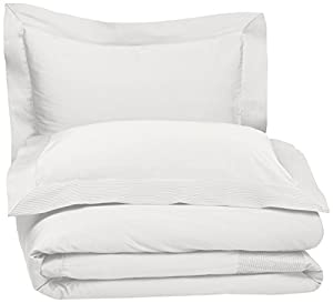 Pinzon 400-Thread-Count Pleated Hem  Egyptian Cotton Sateen Duvet Set - Full/Queen, Cloud