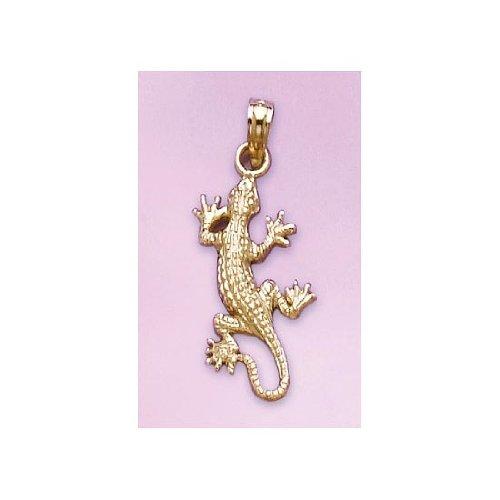 14k Yellow Gold Animal Charm Pendant, 2D Lizard, Gecko