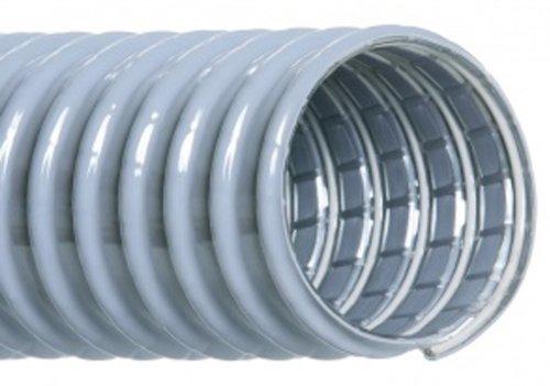 "Hi-Tech Duravent Super Vac-U-Flex Series Pvc Vacuum Duct Hose, Grey, 4"" Id, 4-1/2"" Od, 25' Length front-582098"