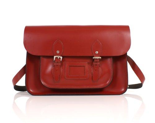 "14"" Pillarbox Red Real Leather Oxbridge Satchel - Classic Retro Fashion laptop / school bag"