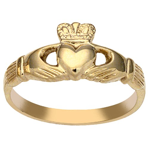 9ct Gold 9x24mm ladies Claddagh ring Size J