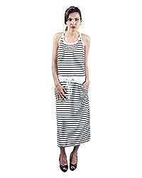 Envy Women's Blended Round Neck Dress (Grey, Free Size)