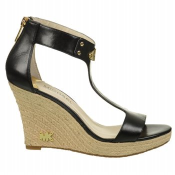 Michael Michael Kors Women'S Mk Plate Espadrille Wedge (Black Leather 7.5 M)