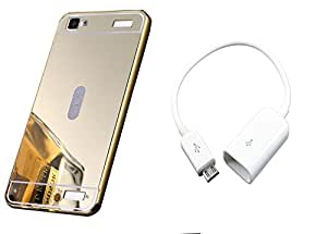 Novo Style Back Cover Case with Bumper Frame Case for Vivo Y37  Golden + Micro USB OTG Cable Attach Pendrive Card Reader Mouse Keyboard to Tablets Mobile