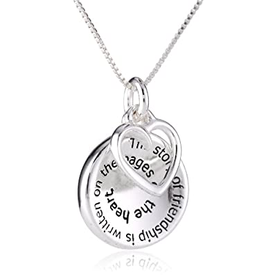 "Sterling Silver ""The Story of Friendship"" Disc and Heart Pendant Necklace, 18"": Friend Necklace: Jewelry"