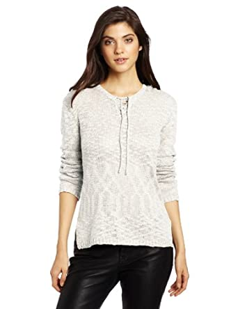 Democracy Women's Tie Front Hoodie Sweater, White, Small