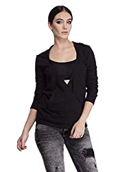 Femella Women's Jersey Sweater (DS-1478465-809_Black_Medium)