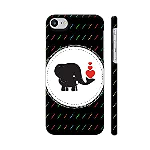Colorpur Elephant With Red Heart On Black Artwork On Apple iPhone 7 Cover (Designer Mobile Back Case) | Artist: Designer Chennai