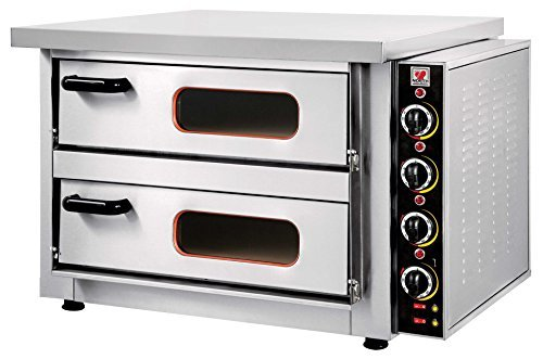 North Pro Gas F70T Commercial Electric Twin Deck Pizza Oven with Fire Resistant Plate - 4+4 pizza Ø300mm (400V-AC-3N-50Hz) (Made in Greece)