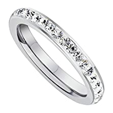 buy Beydodo Stainless Steel Womens Wedding Band Eternity Engagement Rings 3Mm Stick White Cz, Size 7