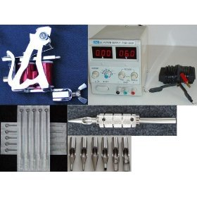 New Tattoo Kit - Tattoo Gun (Messengar tattoo Machine Silver with Red Coil), Power Supply, Footswitch, Tips/Tube/Grip, Needles