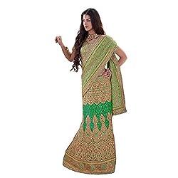 Renisha fashion Georgette Embroidered Work Lehenga Saree(Green)