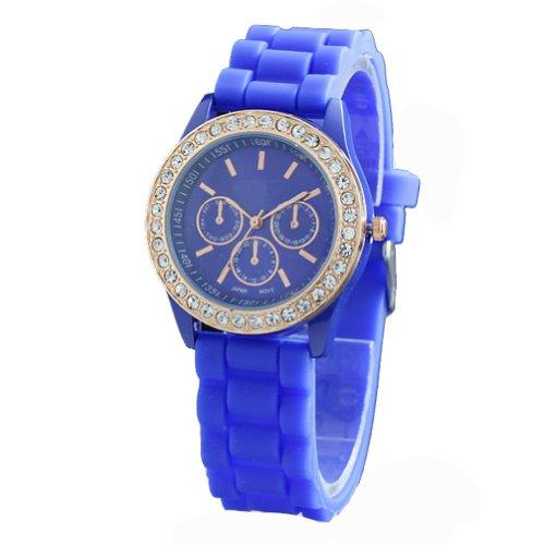 WLM Round Fashion Dark Blue Clock 3 Dials Luxury Sports Unisex Quartz Wrist Watch Watches