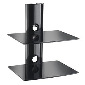 Designer Habitat: Magnifique étagères en verre noir pouvant supporter les accessoires pour téléviseur tel que les Lecteurs DVD / Blu-Ray, Console de jeu PS3 Xbox 36 et décodeur