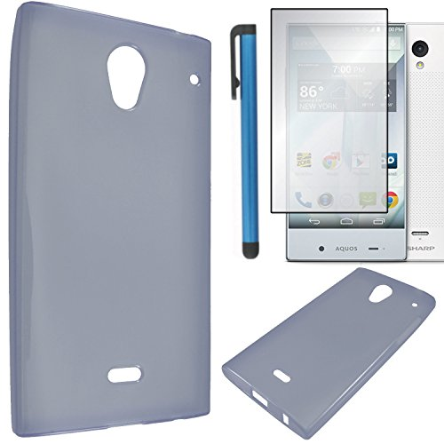 Sharp Aquos Crystal Case Combo(3-items) - Soft Rubber TPU GEL Skin Candy Case (Smoke)+ICE-CLEAR(TM) Screen Protector Shield(Ultra Clear)+Touch Screen Stylus (Sharp Aquos Phone Case Rubber compare prices)