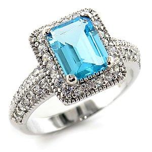 Aquamarine Gemstone CZ Ring
