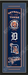 Heritage Banner Of Detroit Tigers With Team Color Double Matting-Framed Awesome &... by Art and More, Davenport, IA