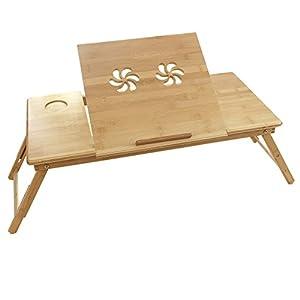 songmics table de lit pliable en bambou pour pc ordinateur portable tablette avec tiroir lld004. Black Bedroom Furniture Sets. Home Design Ideas